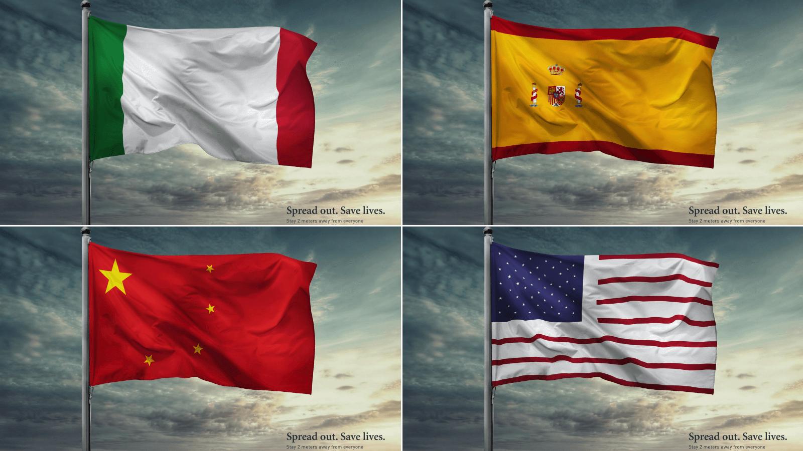 La OMS presenta una campaña de concientización sobre la importancia del distanciamiento usando las banderas de los países más afectados por el coronavirus 01